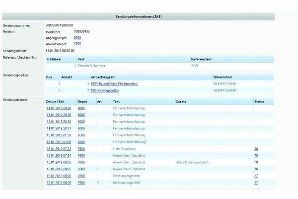 Screenshot einer Versandbenachrichtigung im Swegon-Trackingsystem.