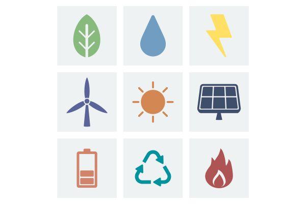 Verschiedene Symbole zum Thema Energie.