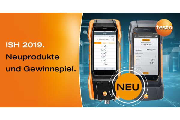 Neuprodukte von Testo auf der ISH 2019 gewinnen: Smartes Abgas- und Klimamessgerät – am Stand A35 in Halle 10.2.