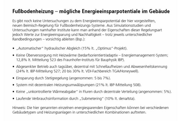 Die Tabelle zeigt mögliche Energieeinsparpotentiale im Gebäude durch eine Fußbodenheizung.