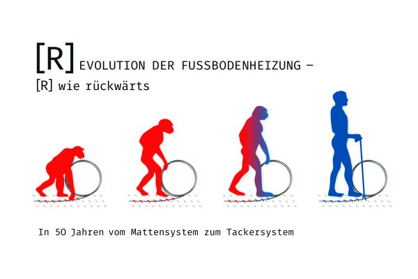 Karikatur der Evolution der Fußbodenheizung.