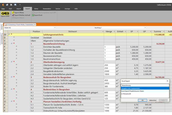 Screenshot einer in California.pro importierte Excel-Kostenplanung nach DIN 276.
