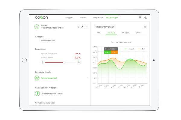Screenshot aus der coqon Smart Home-App.