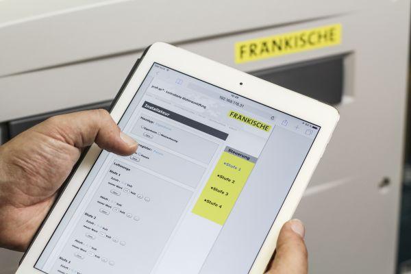 Screenshot der Ventilatorkennlinie von Fränkische auf einem Tablet.