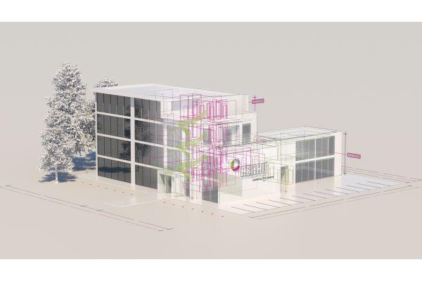BIM-Modell eines Gebäudes.