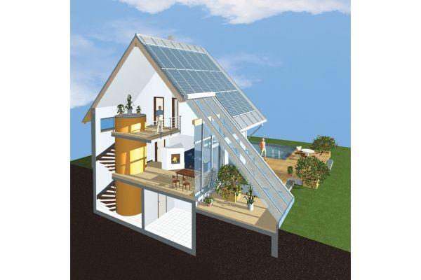 Schnittgrafik mit den typischen Sonnenhaus-Komponenten.