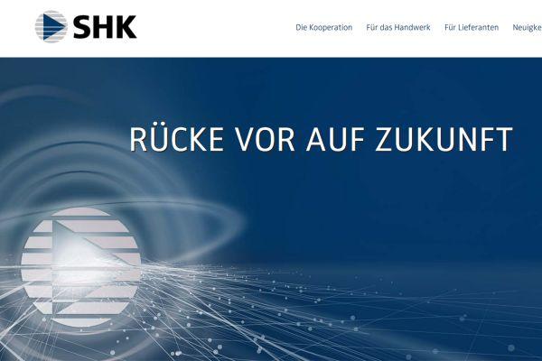 Das Bild zeigt die Website der SHK AG