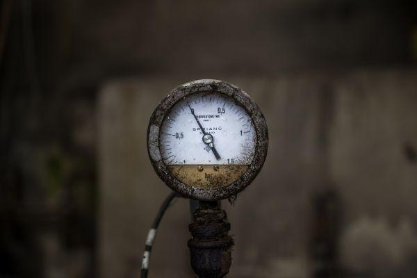 Ein Manometer.