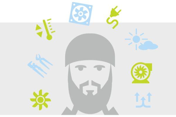 Die Grafik zeigt einen Mann mit Helm umgeben von verschiedenen Symbolen.