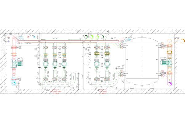 Technische Zeichnung einer Rohrnetzberechnung.