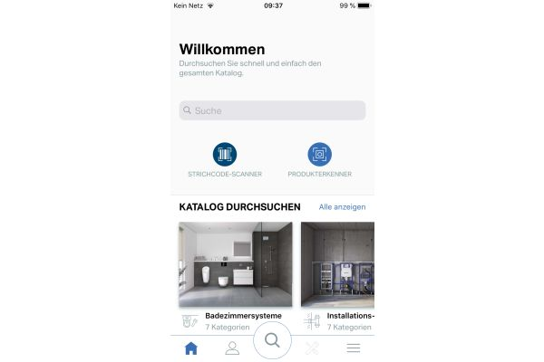 Das Bild zeigt die Startseite der überarbeiteten App.