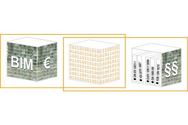 Grafische Darstellung dreier Gebäude.