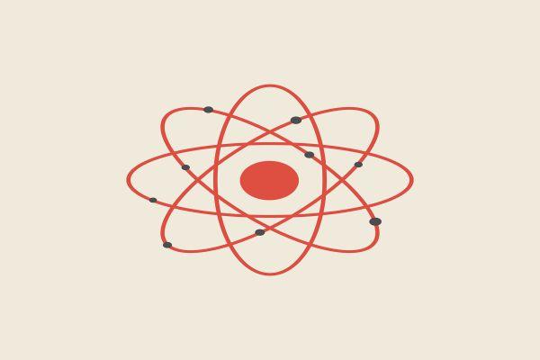 Zeichnung eines Atoms.