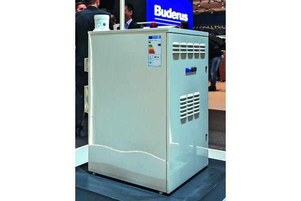 Brennstoffzellen-Heizgerät auf einem Messestand.