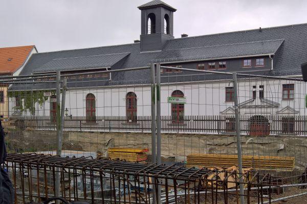Die Baustelle des Stadtarchivs Freiberg im Mai 2019.