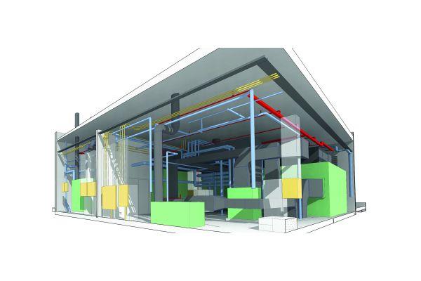 CAD-Modell eines Gebäudes.