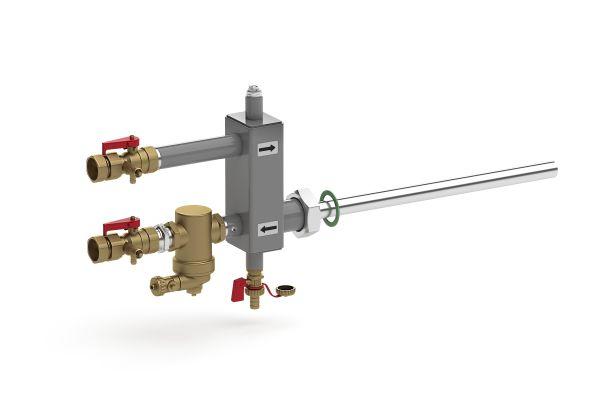 Anschluss für Druckhaltung- und Entgasungs-Komponenten.