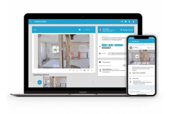 MemoMeister-App auf einem Laptop und einem Smartphone.