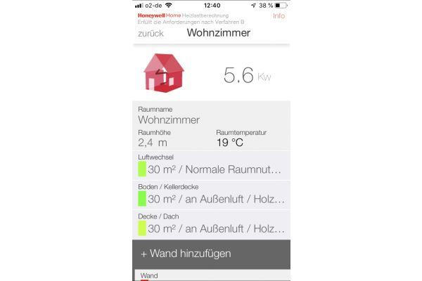 Screenshot aus der Honeywell Home Heizlastberechnungs-App von Resideo.