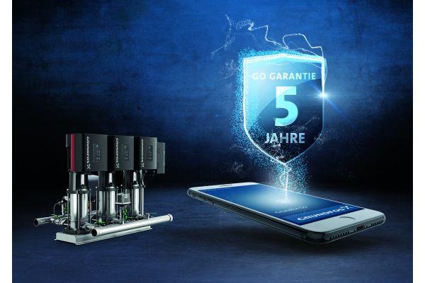 Das Bild zeigt die Garantie-Werbung von Grundfos.