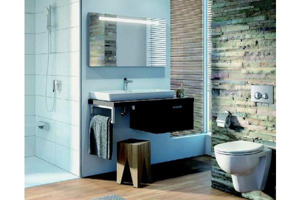 """Die Badkollektion """"Conforma"""" von VitrA Bad umfasst fünf WCs sowie  zwei Waschtische."""