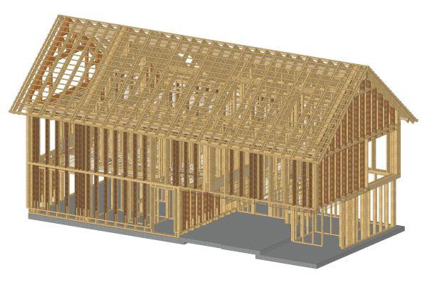 BIM-Modell des Tragwerks und weiterer Holzbaustoffe eines Gebäudes in Holzständerbauweise.