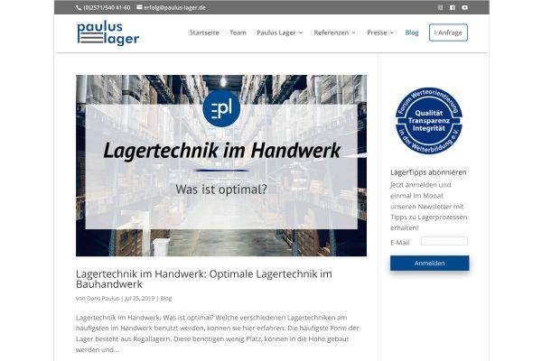 Screenshot des Info-Blogs der Paulus-Lager GmbH.