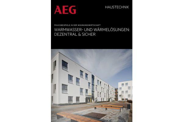 Das Bild zeigt die neue AEG-Broschüre.