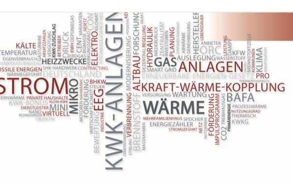 Wortwolke zum Thema Kraft-Wärme-Kopplung.