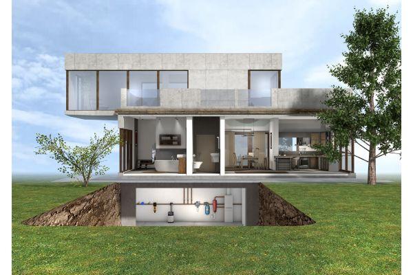 Das Bild zeigt einen Querschnitt eines Gebäudes.