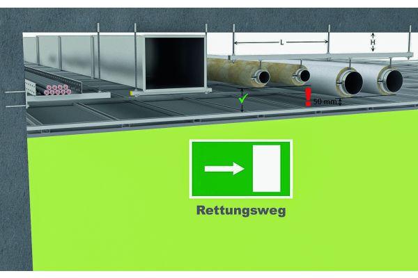 Rettungsweg-Symbol auf grünem Hintergrund, am oberen Rand die graphische Darstellung einer Unterdecke.