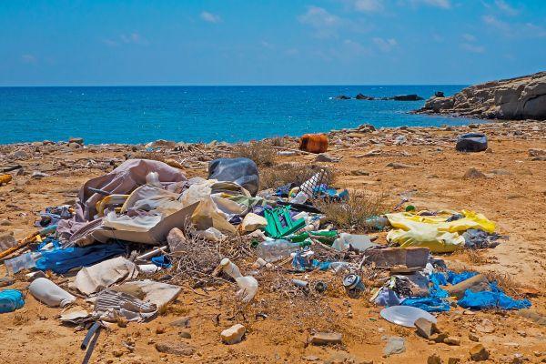 Das Bild zeigt Müll am Strand.