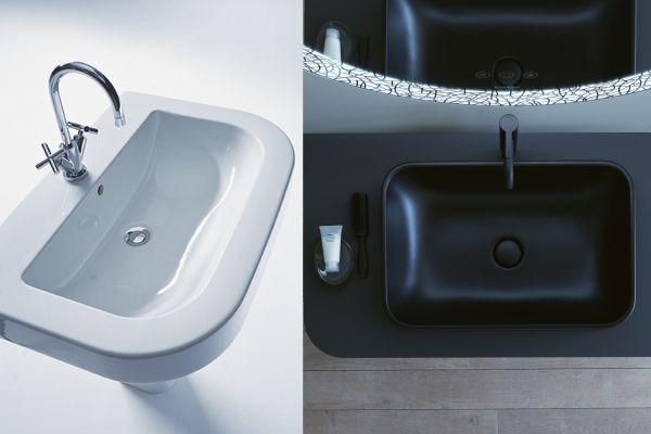 Das Bild zeigt das Waschbecken aus der Serie früher und heute.