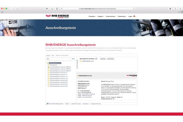 Screenshot von der RMB/Energie-Website.