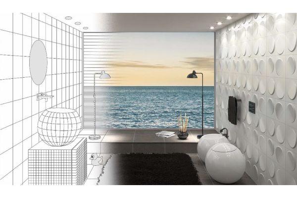 Bildmontage aus Planungszeichnung eines Bades und einem 3D-Modell.