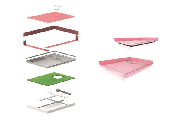 Das System vereint Board, Abdichtung, Schallschutzbänder und -matte sowie Gefälleausrichtung. Die aufeinander abgestimmten Bauteile fügen sich zu einem wasserundurchlässigen und schallschutzoptimierten Duschboard-System zusammen.