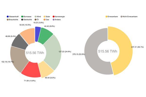 Die Grafik zeigt die Nettostromerzeugung aus Kraftwerken zur öffentlichen Stromversorgung im Jahr 2019 in Deutschland.