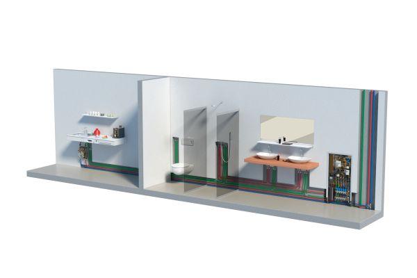 Die Grafik zeigt Beispiele für die Anbindung von Zapfstellen von Küche, Bad und Gäste-WC an eine Trinkwasserstation.