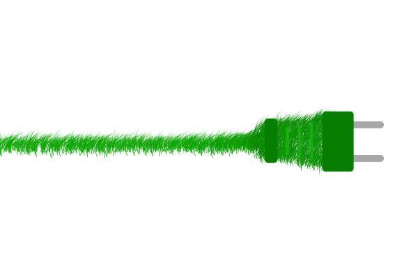 Ein gemalter Stecker mit Kabel aus Gras.