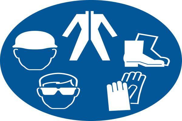 Fünf Symbole kreisförmig angeordnet: Zwei Köpfe, Schuhe, Handschuhe und ein Overall.