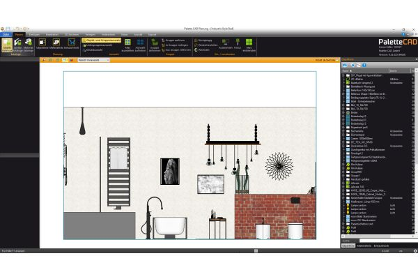 Übersichtliche Darstellung in verschiedenen Planungsansichten (Grundriss, Front, Perspektive, Kamera).
