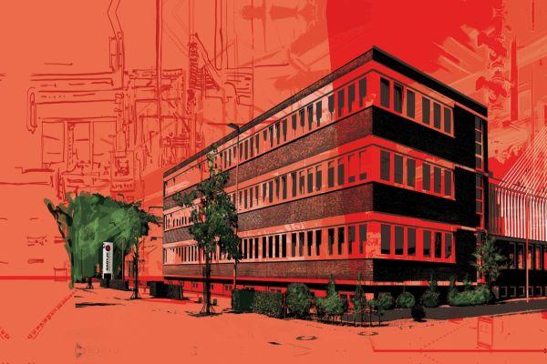 Stilisiertes Bild vom Brötje-Firmengebäude in Rastede.