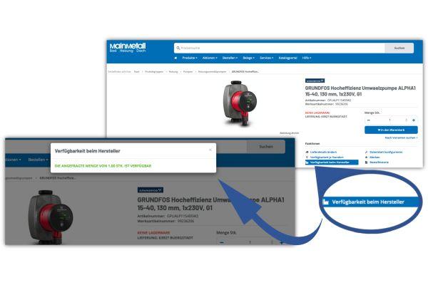 Screenshots aus dem Online-Shop von Mainmetall.