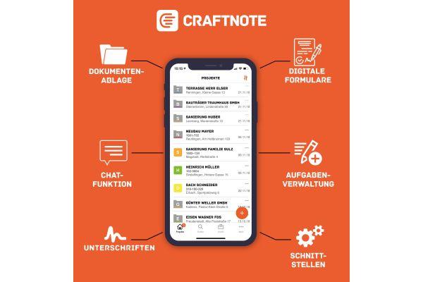 Die Grafik zeigt die Funktionen der Craftnote-App.