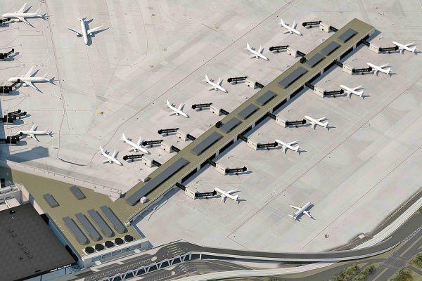 Grafik eines Flughafen-Terminals von außen.