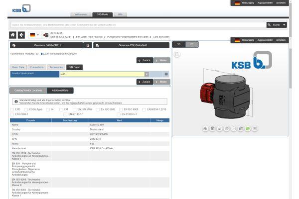 Screenshot aus dem KSB-Pumpenkonfigurator.