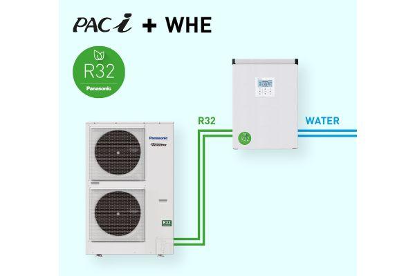 Das Schema zeigt einen Wasserwärmeübertrager mit Anschluss an zwei
