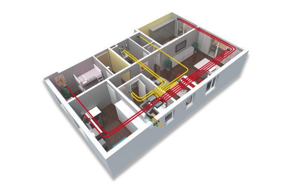 Die Grafik zeigt eine Wohnung mit Rohren für eine zentrale KWL-Anlage von oben.