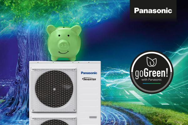 Wärmepumpe von Panasonic vor grün-blauem Hintergrund.