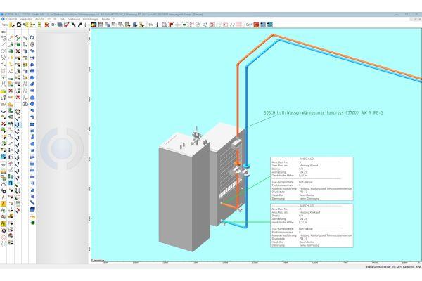 Heizkreis-Anschluss der Luft/Wasser-Wärmepumpe Bosch-